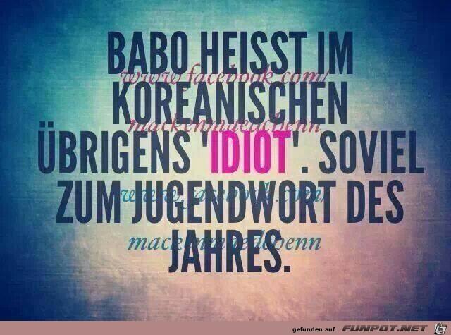 Babo heißt im koreanischen...