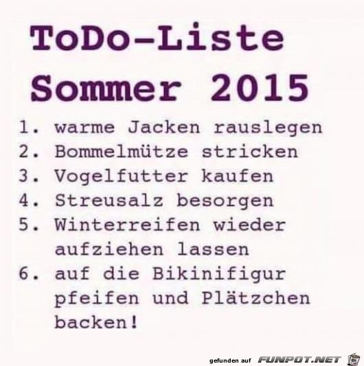 ToDo-Liste Sommer 2015