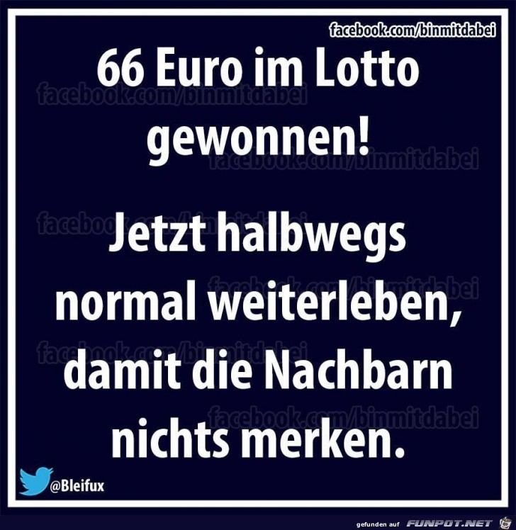 66 Euro im Lotto gewonnen