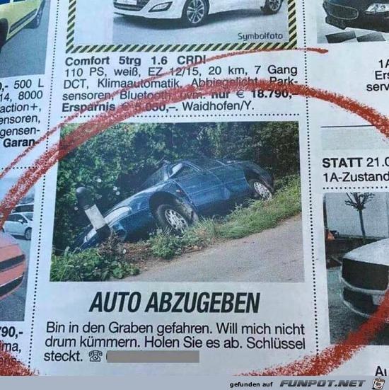 Auto abzugeben.....