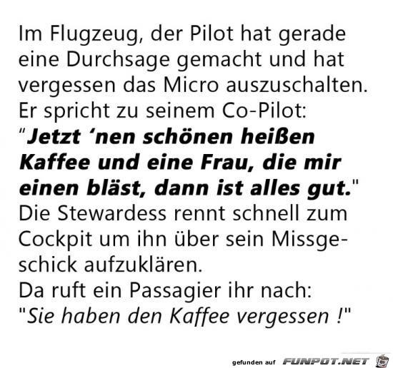 die Durchsage des Piloten......