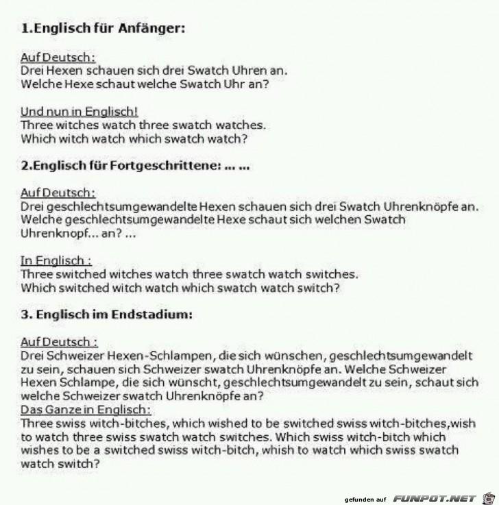 Englisch für Fortgeschrittene