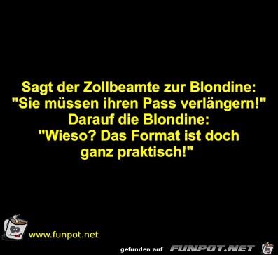 Sagt der Zollbeamte zur Blondine: Sie müssen ihren Pas
