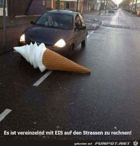Eis auf den Straßen