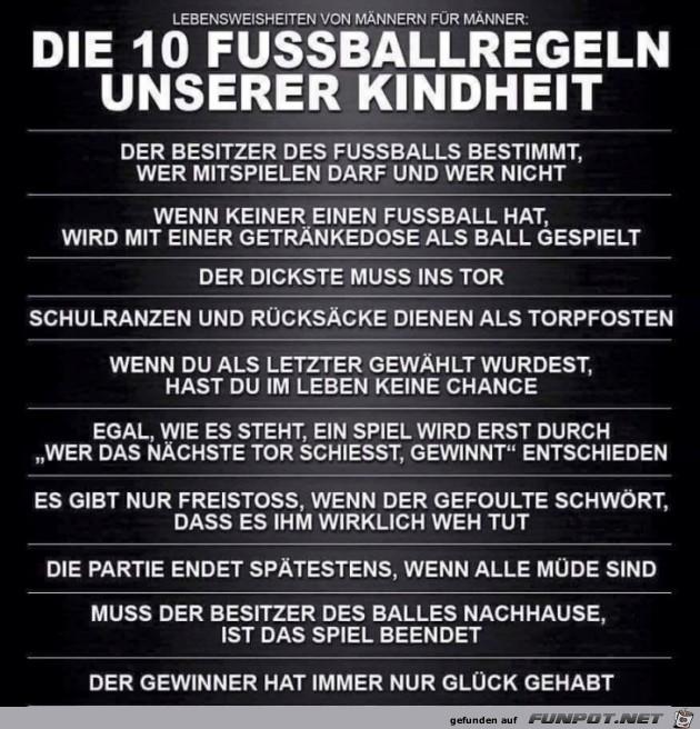 10 Fussballregeln unserer Kindheit