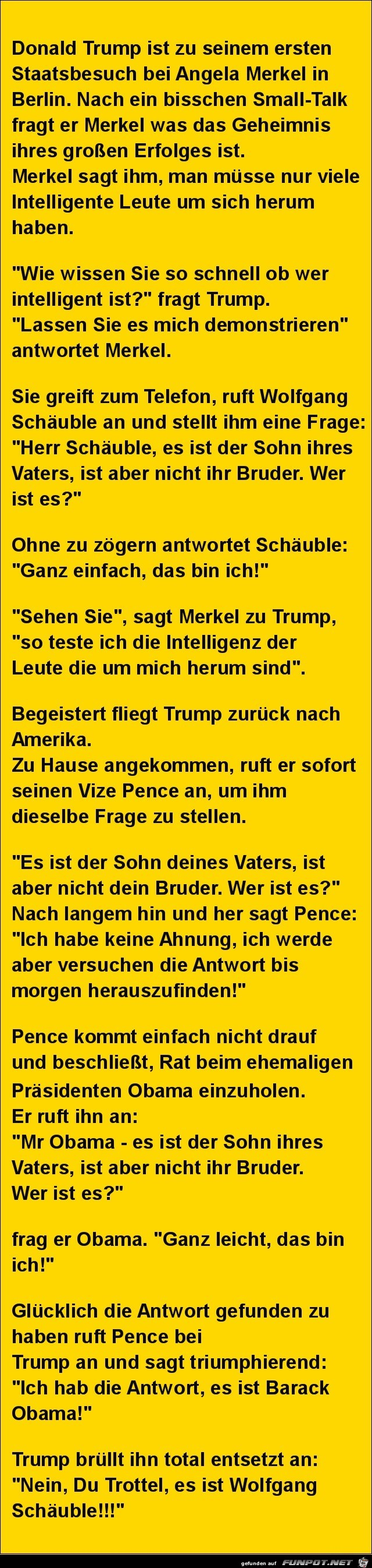 Donald Trump bei Angela Merkel.....