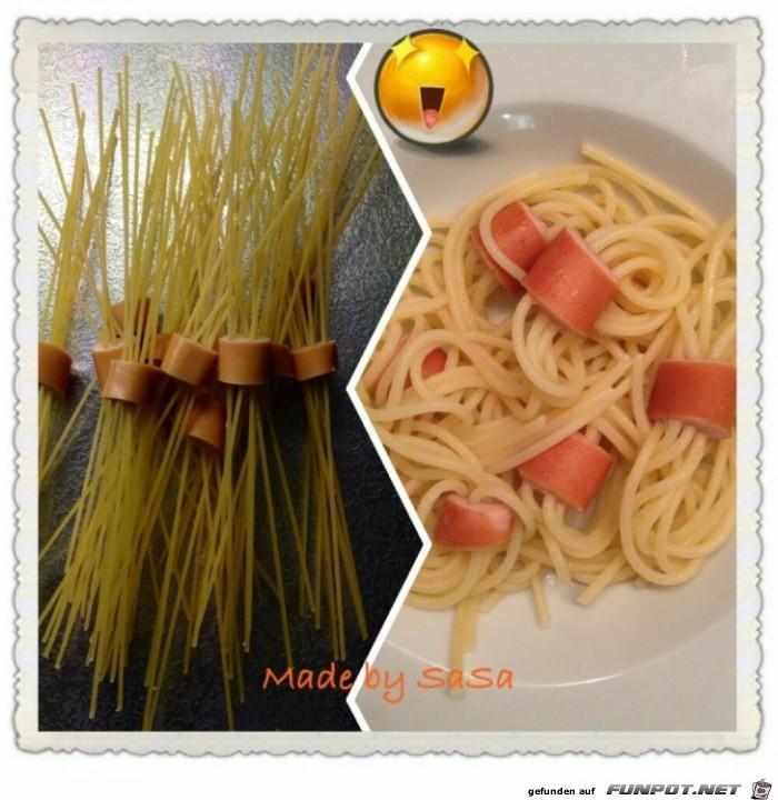 Nudeln vor und nach dem Kochen