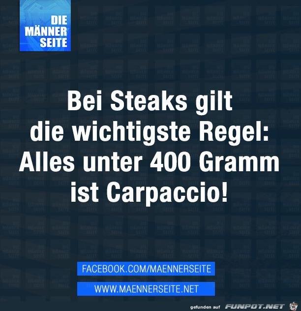 Wichtige Regel für Steaks