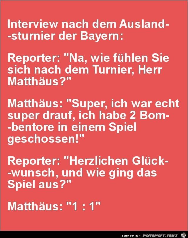 Interview nach dem Auslandsturnier der Bayern:.......