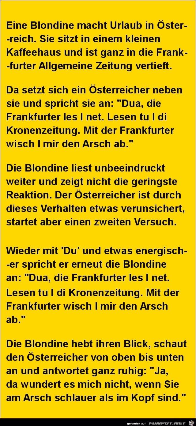 eine Blondine macht Urlaub........