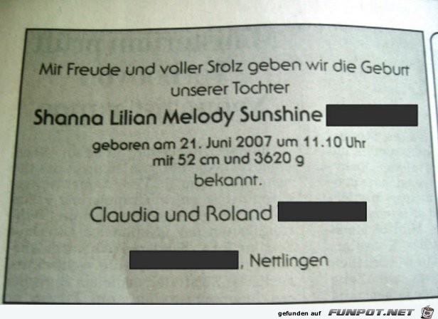 Shanna Lilian Melody Sunshine