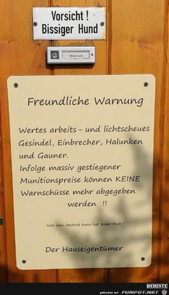 freundliche Warnung.......