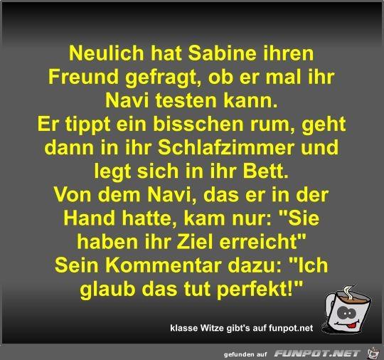 Neulich hat Sabine ihren Freund gefragt