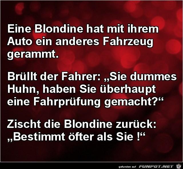 Blondine hat nen Unfall......