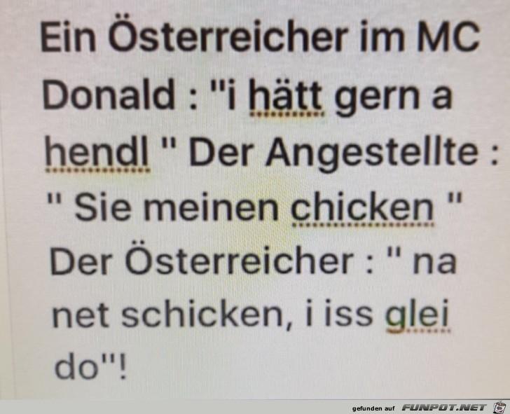 Österreicher bei Mc Donalds...