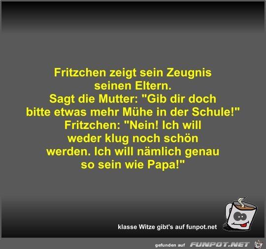 Fritzchen zeigt sein Zeugnis seinen Eltern