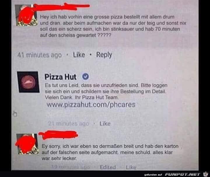 Pizza bestellt