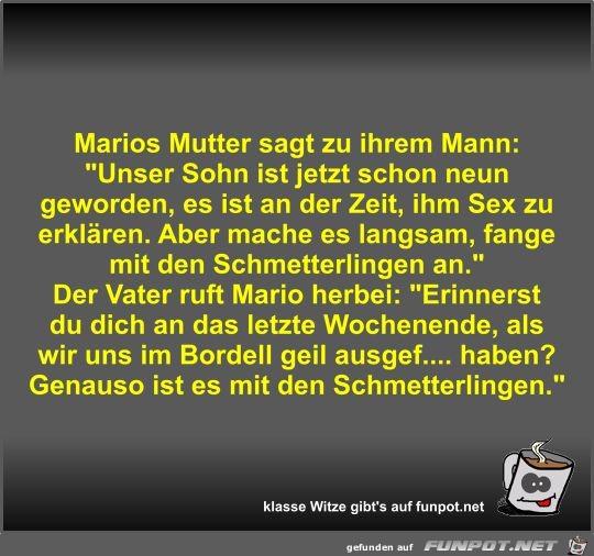 Marios Mutter sagt zu ihrem Mann