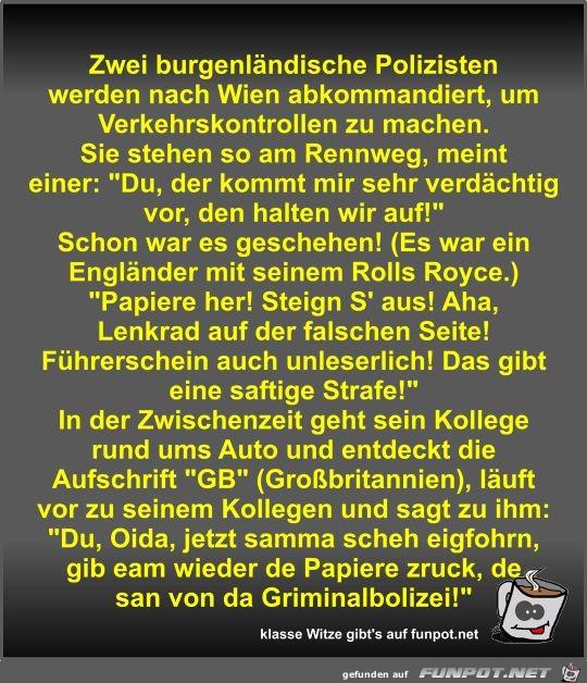 Zwei burgenländische Polizisten werden nach Wien...