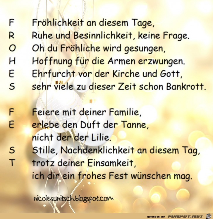 Weihnachtsgedicht - Frohes Fest