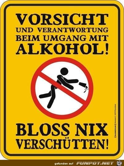 Vorsicht beim Umgang mit Alkohol