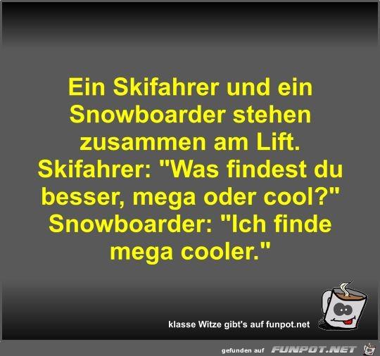 Ein Skifahrer und ein Snowboarder stehen zusammen am Lift