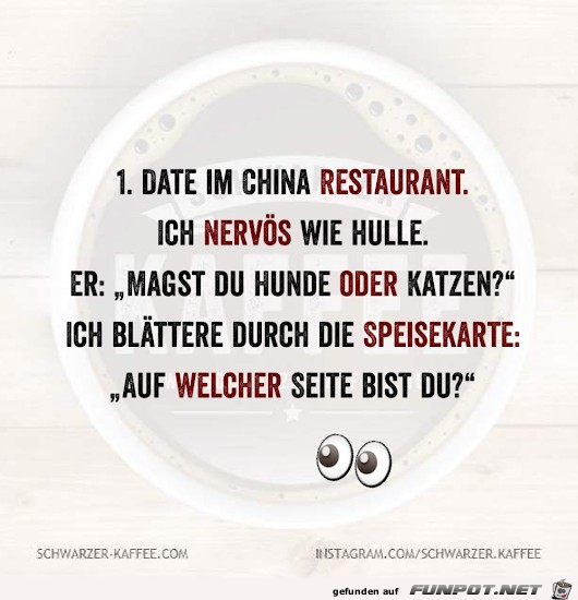 Nervös im Chinarestaurant