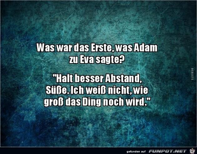 was sagte Adam zu Eva als erstes?........
