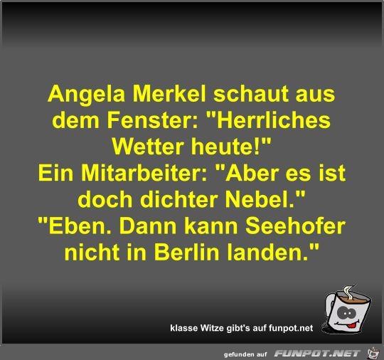 Angela Merkel schaut aus dem Fenster