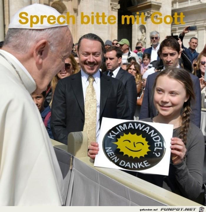 Greta mit Wunsch für Gott