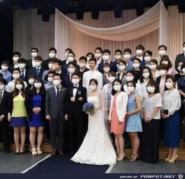 Romantische Hochzeit mit Mundschutz