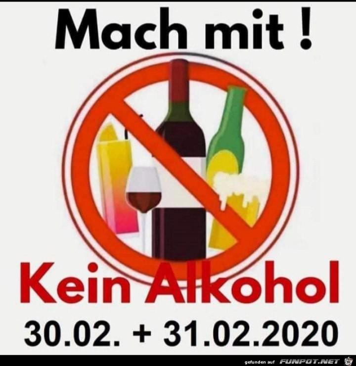 Kein Alkohol am Ende Februar