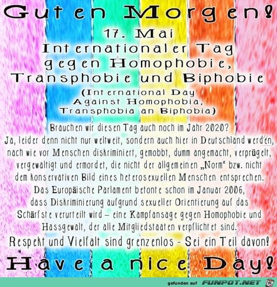 Internationaler Tag gegen Homophobie, Transphobie & Biphobie