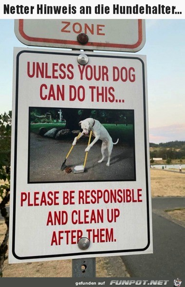 Freundlicher Hinweis an Hundehalter