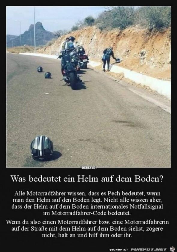 Was bedeutet ein Helm auf dem Boden ?