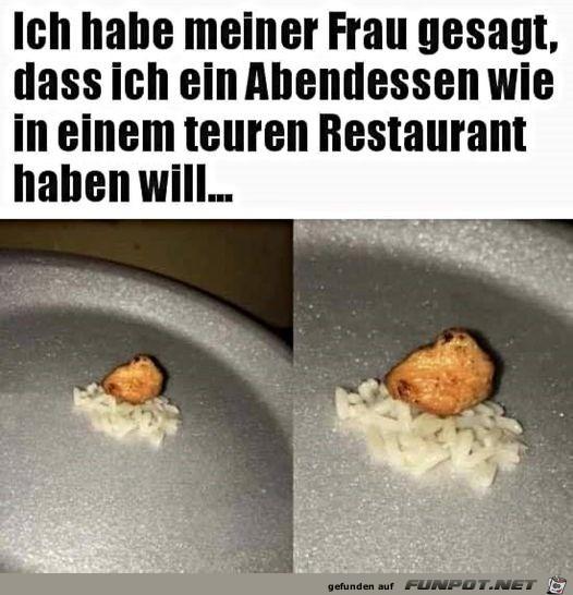 Essen wie in einem teuren Restaurant