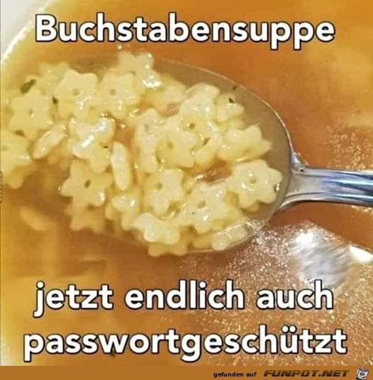 Passwortgeschützte Buchstabensuppe