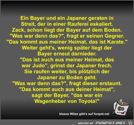 Ein Bayer und ein Japaner geraten in Streit