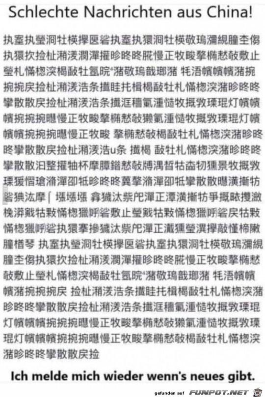 Schlechte Nachrichten aus China