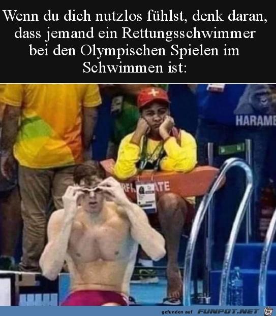 Ein Rettungs-Schwimmer