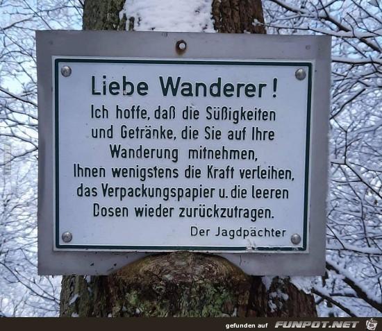 Hinweis für Wanderer