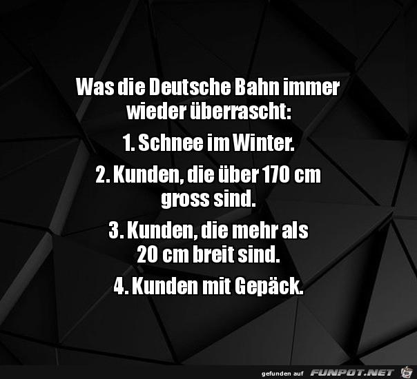 Die Deutsche Bahn ist überrascht