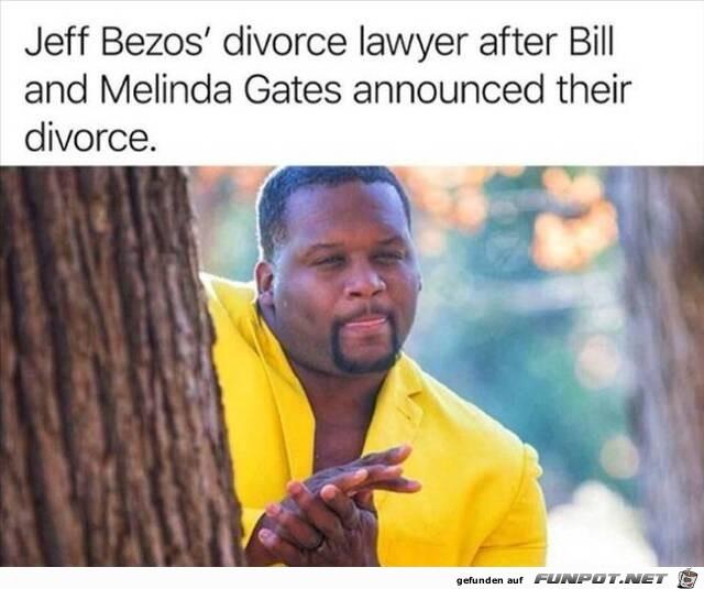 Scheidungsanwalt reibt sich die Hände