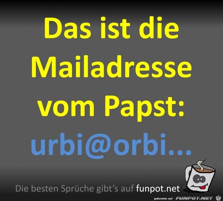 Mailadresse vom Papst