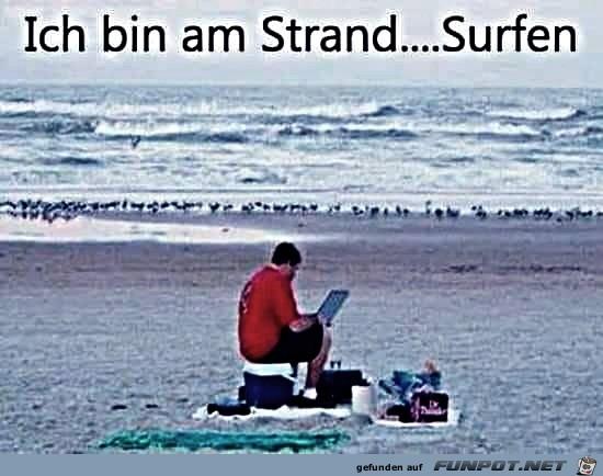 Am Strand surfen