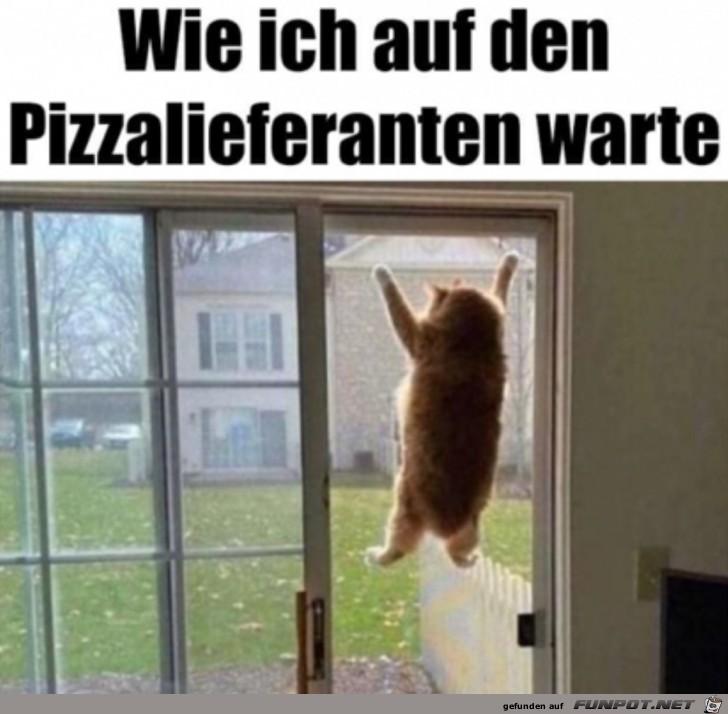 Auf die Pizza warten