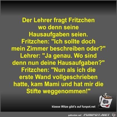 Der-Lehrer-fragt-Fritzchen-wo-denn-seine-Hausaufgaben-seien.jpg von Fossy