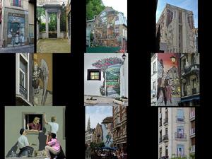 die Comiczeichnungen an den Häusern in Brüssel