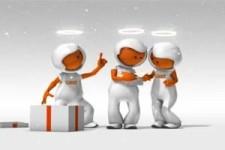 die drei kleinen Raumfahrer mit Heiligenschein