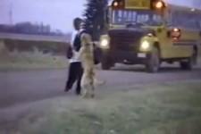 Hund holt Kind vom Schulbus ab